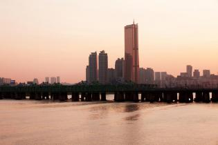 Sunset over Yeouido and the 63 Building, Seoul