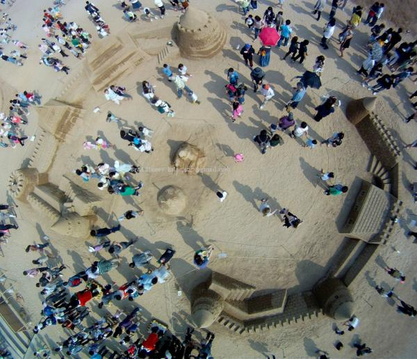 Haeundae Beach - A Real Sand Castle - From a Kite